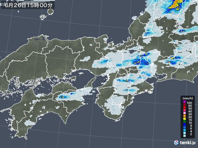 近畿地方の雨雲レーダー(2020年06月26日)