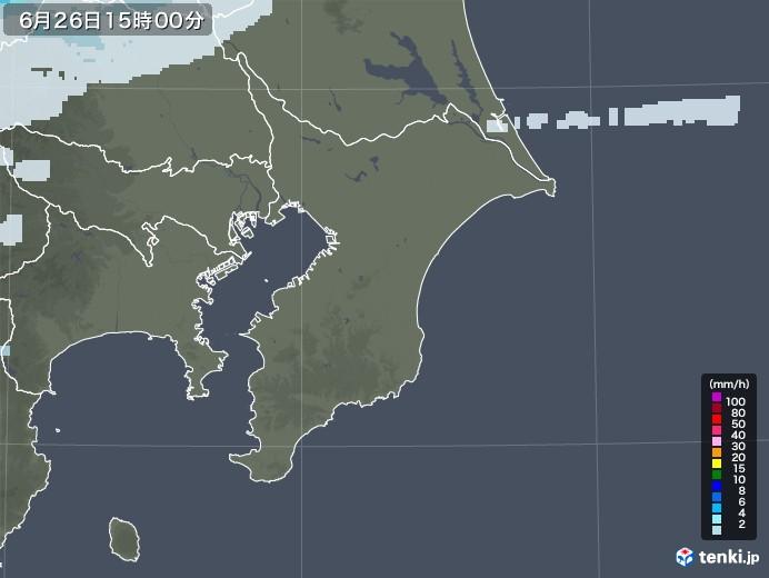 千葉県の雨雲レーダー(2020年06月26日)
