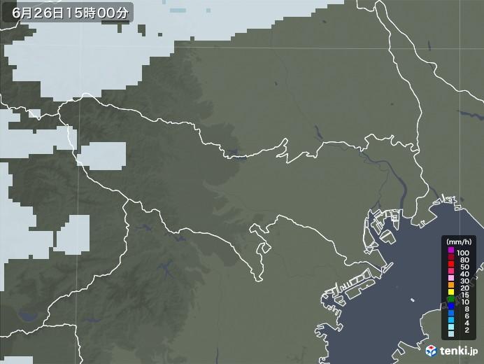 東京都の雨雲レーダー(2020年06月26日)