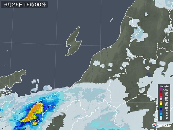 新潟県の雨雲レーダー(2020年06月26日)