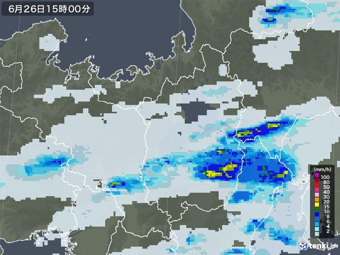 滋賀県の雨雲レーダー(2020年06月26日)