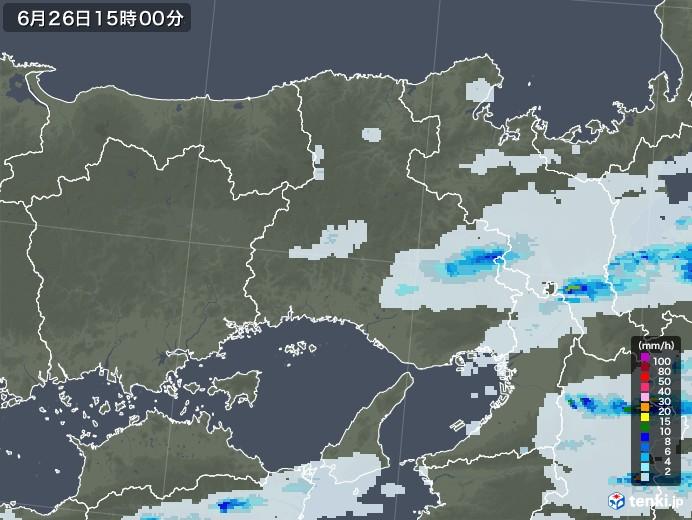 兵庫県の雨雲レーダー(2020年06月26日)