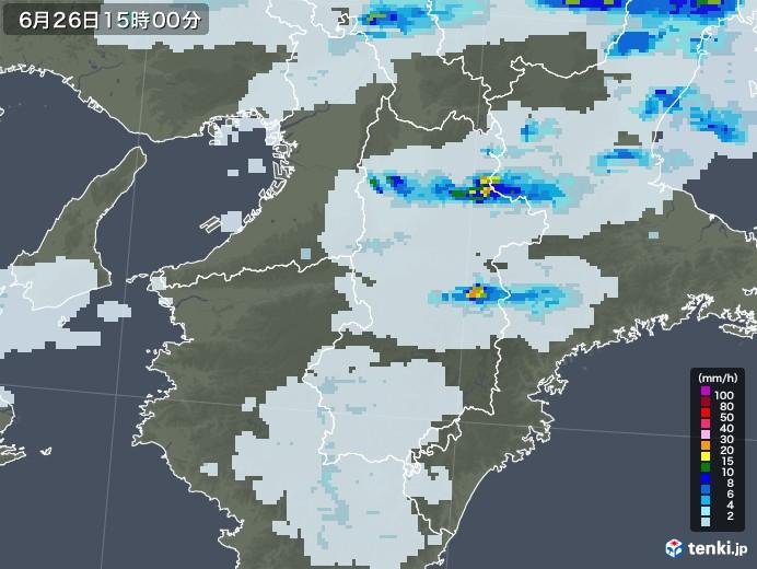 奈良県の雨雲レーダー(2020年06月26日)