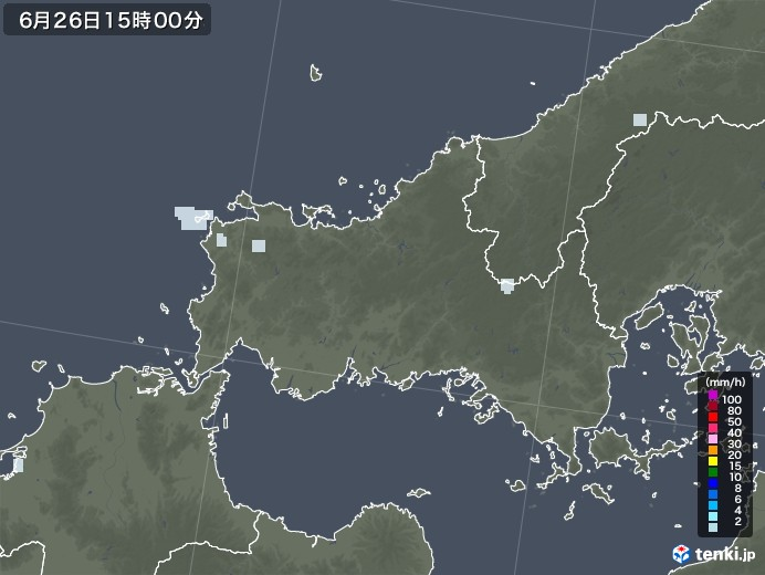 山口県の雨雲レーダー(2020年06月26日)