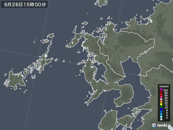 長崎県の雨雲レーダー(2020年06月26日)