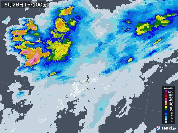 奄美諸島(鹿児島県)の雨雲レーダー(2020年06月26日)