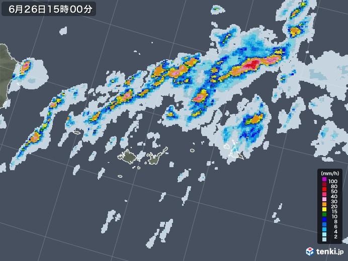 宮古島・石垣・与那国(沖縄県)の雨雲レーダー(2020年06月26日)