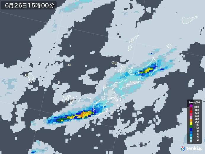 沖縄県の雨雲レーダー(2020年06月26日)