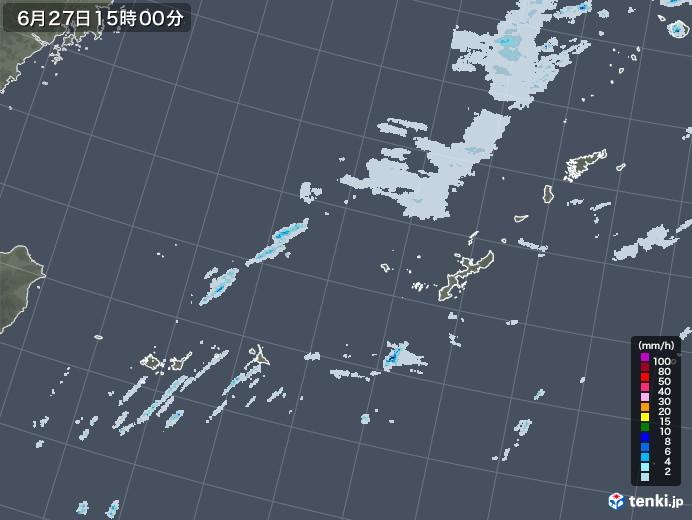 沖縄地方の雨雲レーダー(2020年06月27日)