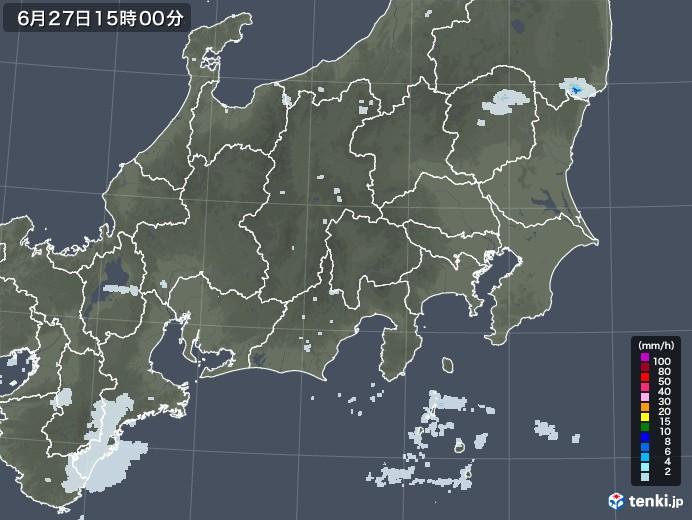 関東・甲信地方の雨雲レーダー(2020年06月27日)