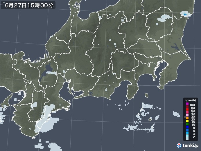 東海地方の雨雲レーダー(2020年06月27日)