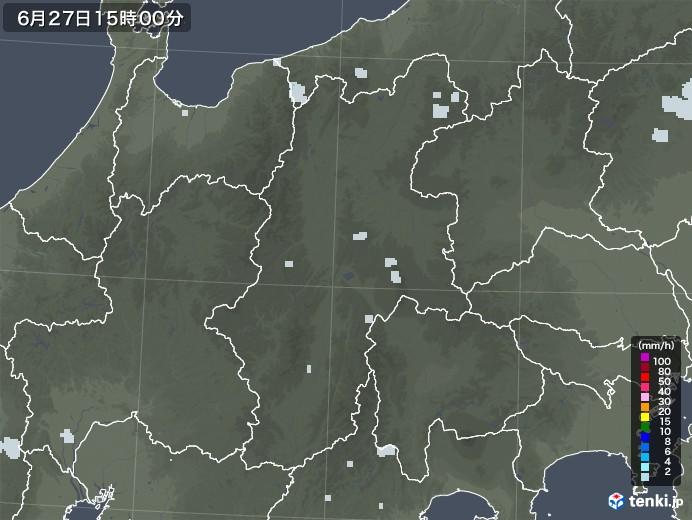 長野県の雨雲レーダー(2020年06月27日)