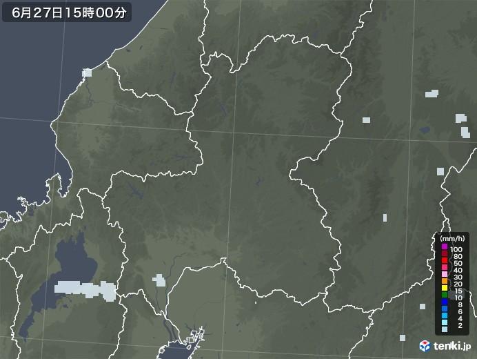 岐阜県の雨雲レーダー(2020年06月27日)