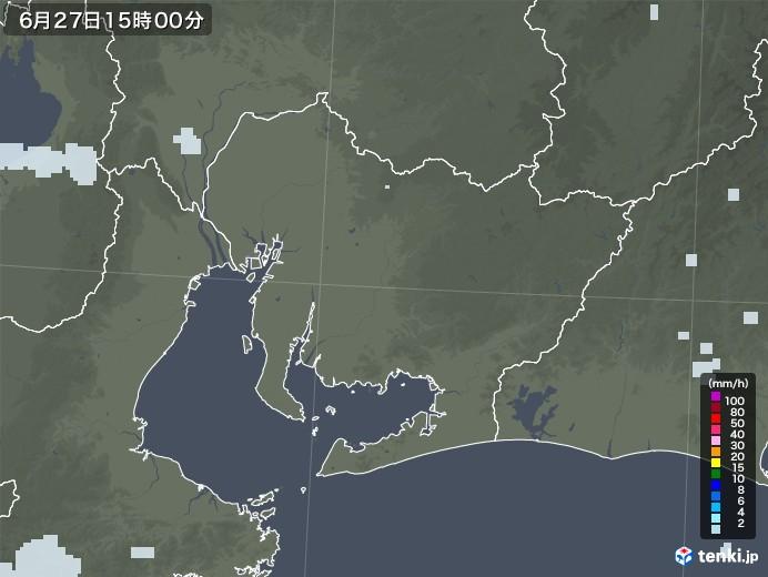 愛知県の雨雲レーダー(2020年06月27日)