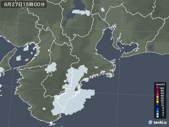 三重県の雨雲レーダー(2020年06月27日)