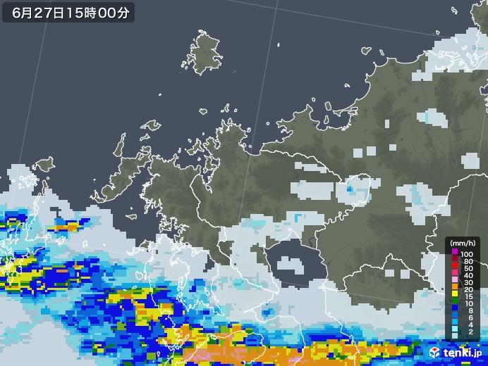 佐賀県の雨雲レーダー(2020年06月27日)