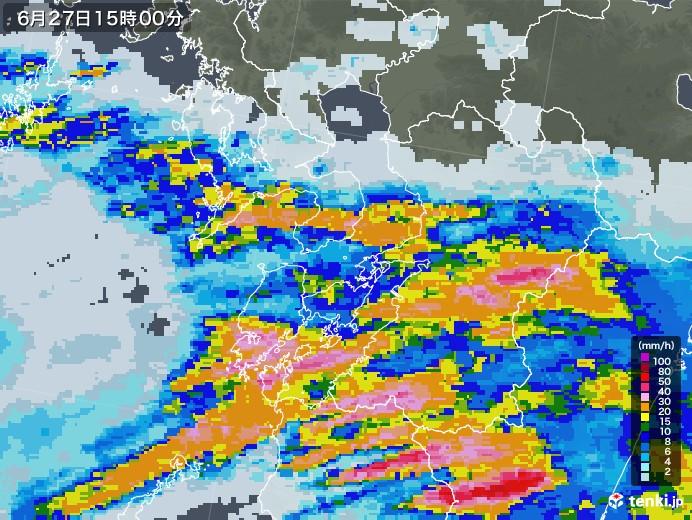 熊本県の雨雲レーダー(2020年06月27日)