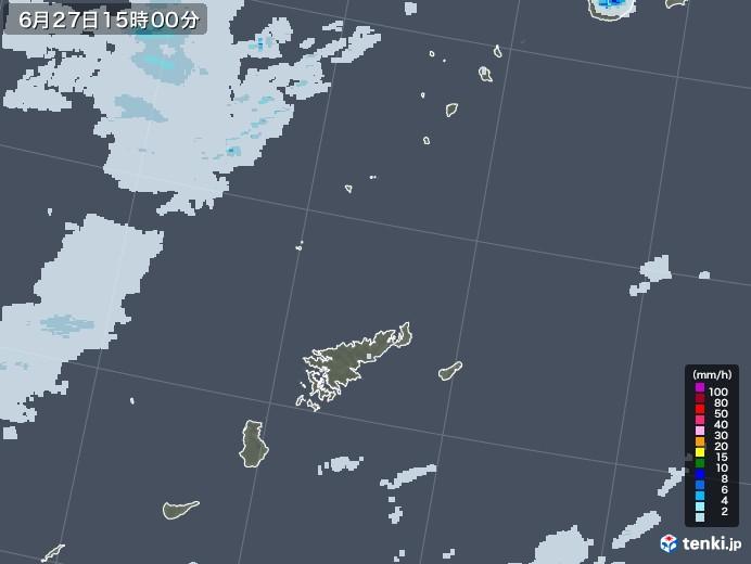 奄美諸島(鹿児島県)の雨雲レーダー(2020年06月27日)
