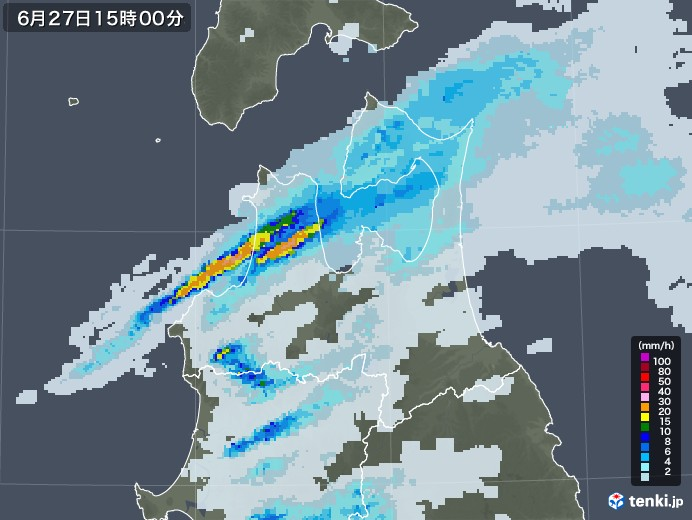 青森県の雨雲レーダー(2020年06月27日)