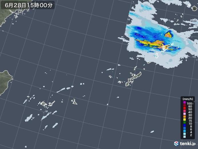 沖縄地方の雨雲レーダー(2020年06月28日)