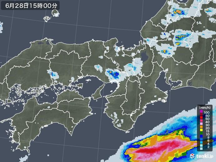 近畿地方の雨雲レーダー(2020年06月28日)