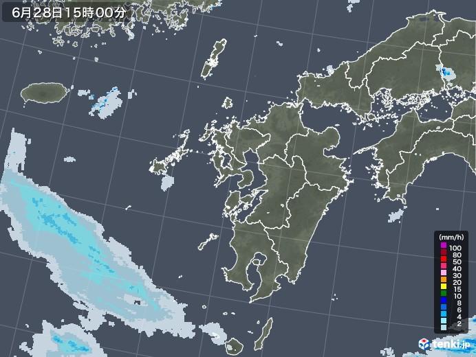 九州地方の雨雲レーダー(2020年06月28日)