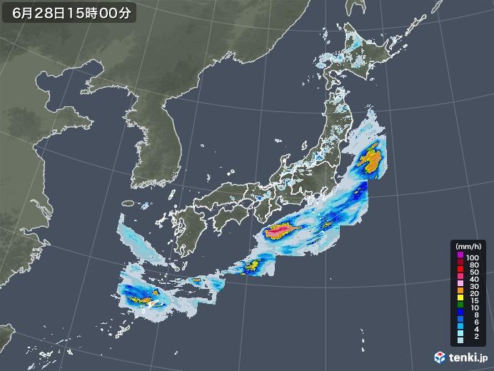 雨雲レーダー(2020年06月28日)