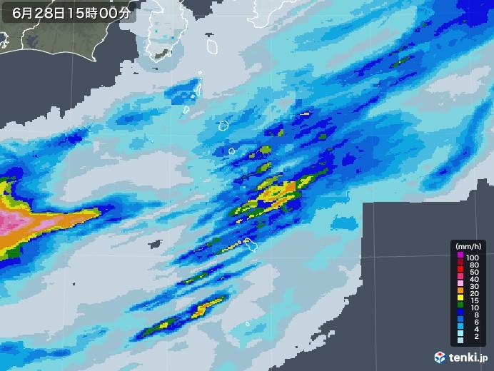 伊豆諸島(東京都)の雨雲レーダー(2020年06月28日)