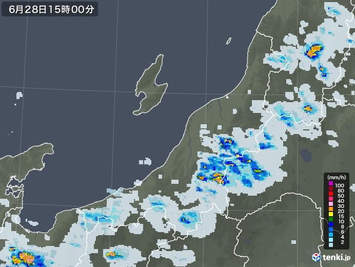 新潟県の雨雲レーダー(2020年06月28日)