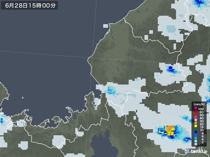 福井県の雨雲レーダー(2020年06月28日)