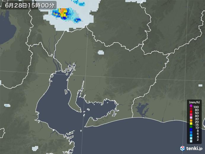 愛知県の雨雲レーダー(2020年06月28日)