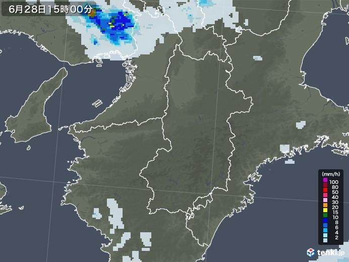 奈良県の雨雲レーダー(2020年06月28日)
