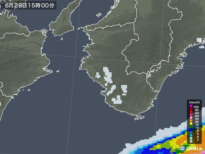 和歌山県の雨雲レーダー(2020年06月28日)