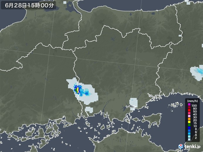 岡山県の雨雲レーダー(2020年06月28日)
