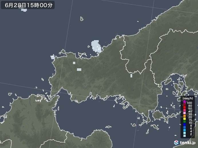 山口県の雨雲レーダー(2020年06月28日)