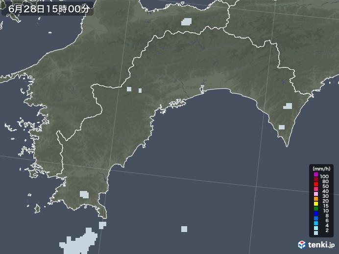 高知県の雨雲レーダー(2020年06月28日)