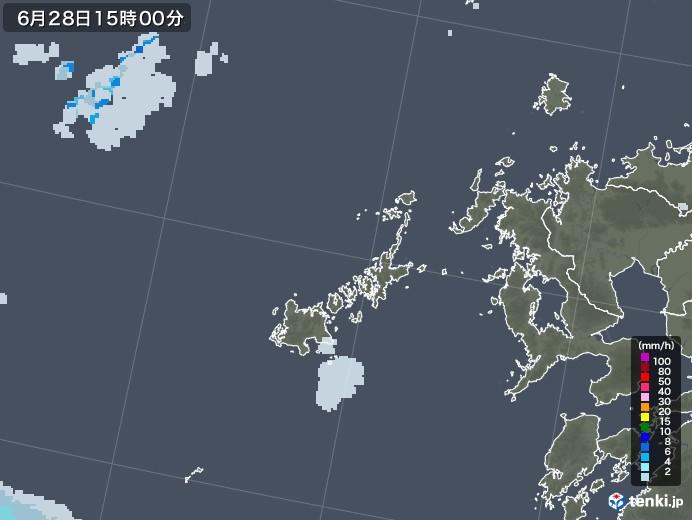 五島列島(長崎県)の雨雲レーダー(2020年06月28日)