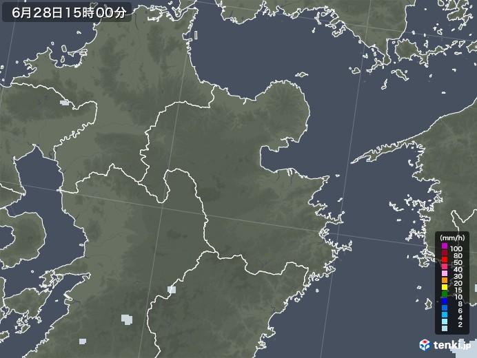 大分県の雨雲レーダー(2020年06月28日)