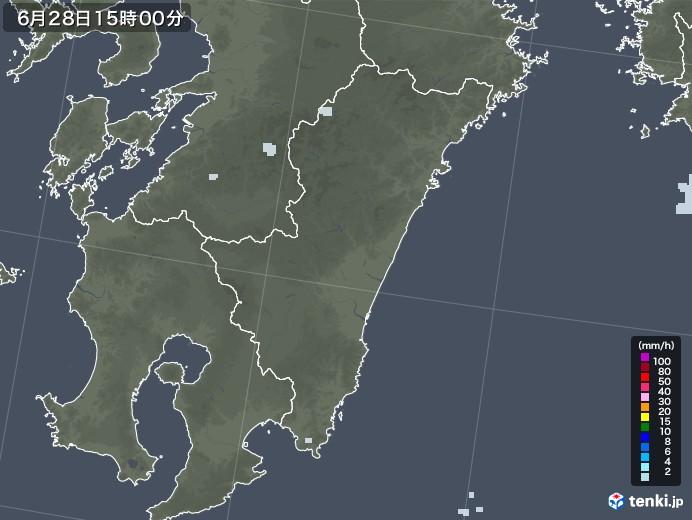 宮崎県の雨雲レーダー(2020年06月28日)