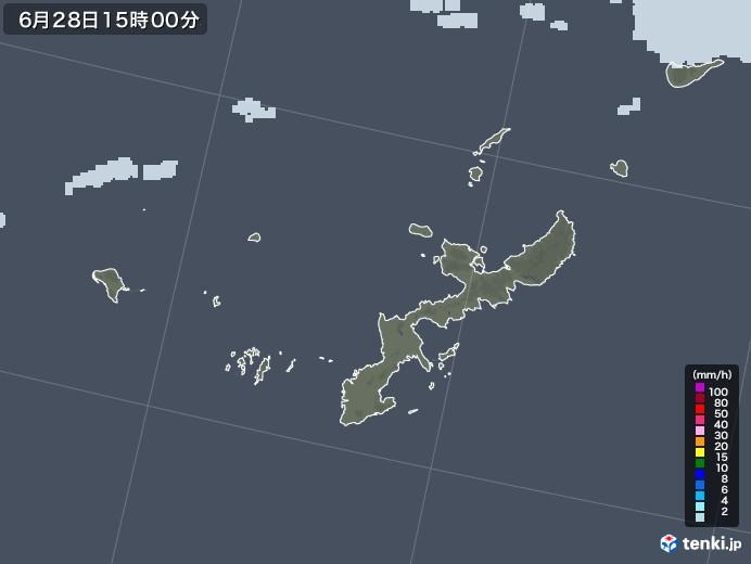沖縄県の雨雲レーダー(2020年06月28日)