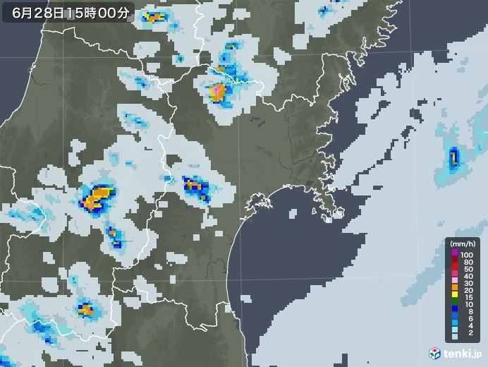 宮城県の雨雲レーダー(2020年06月28日)