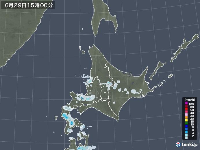 北海道地方の雨雲レーダー(2020年06月29日)