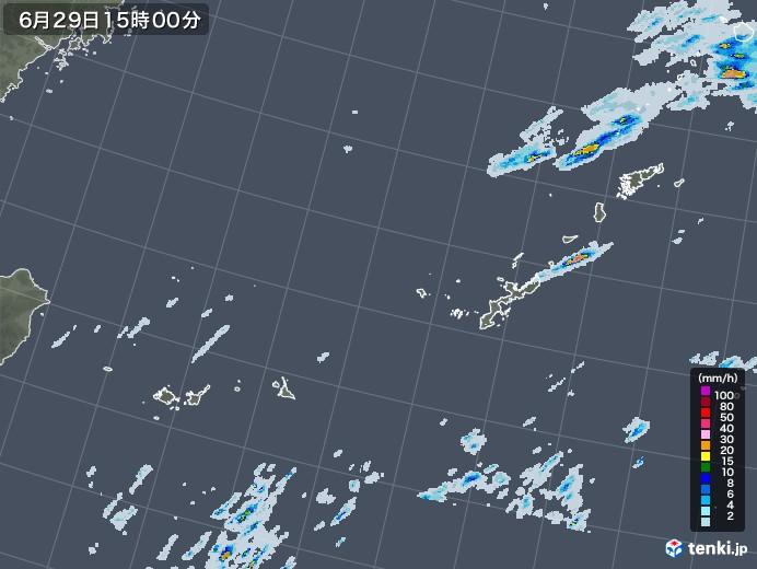 沖縄地方の雨雲レーダー(2020年06月29日)
