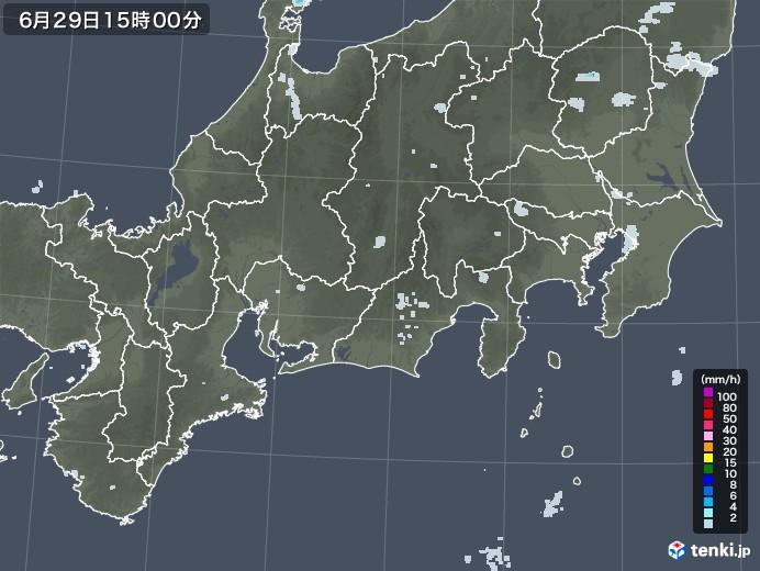 東海地方の雨雲レーダー(2020年06月29日)