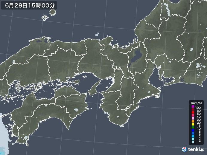 近畿地方の雨雲レーダー(2020年06月29日)