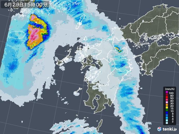 九州地方の雨雲レーダー(2020年06月29日)