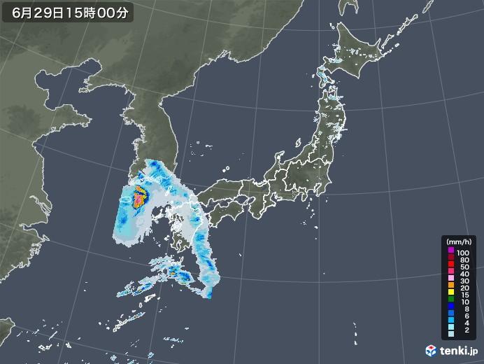 雨雲レーダー(2020年06月29日)