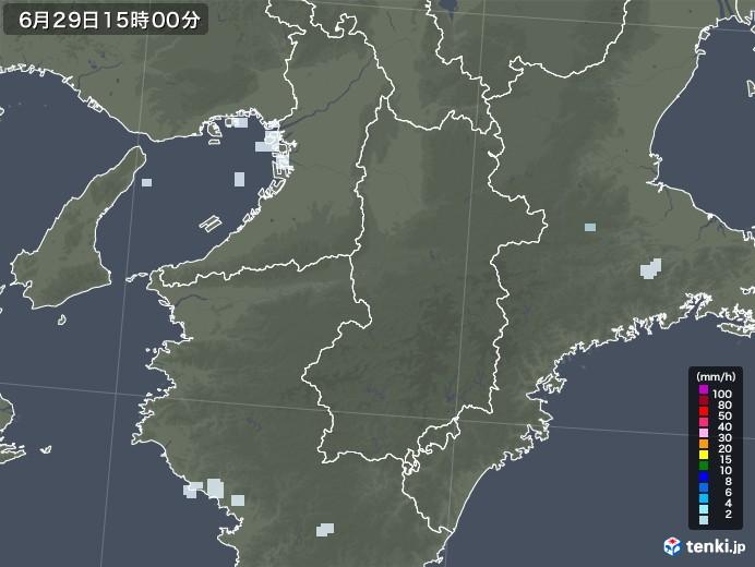 奈良県の雨雲レーダー(2020年06月29日)