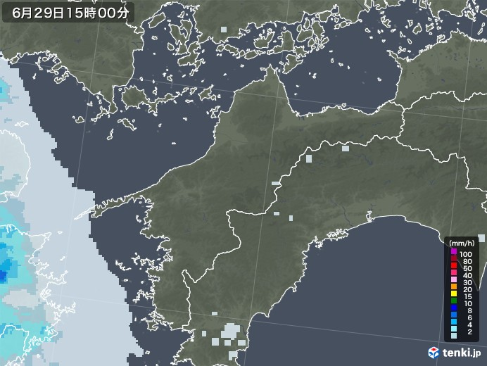 愛媛県の雨雲レーダー(2020年06月29日)