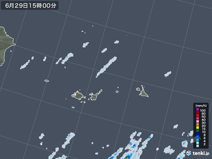 宮古島・石垣・与那国(沖縄県)の雨雲レーダー(2020年06月29日)